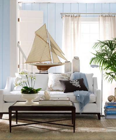 Nautical theme decorating with sailboat models nautical for Model living room ideas