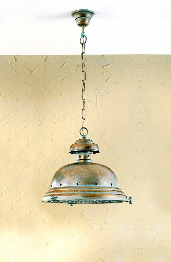 classic maritime shape and a glass shade protected by a twisted wire cage