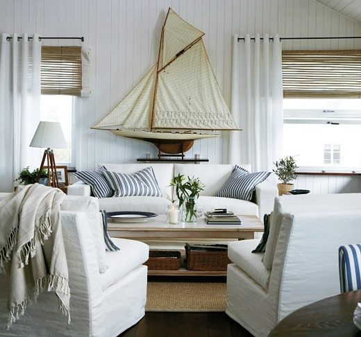 Sailboat models for decorating and ideas - Nautical theme living room ...