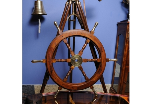 ship wheel with brass handles
